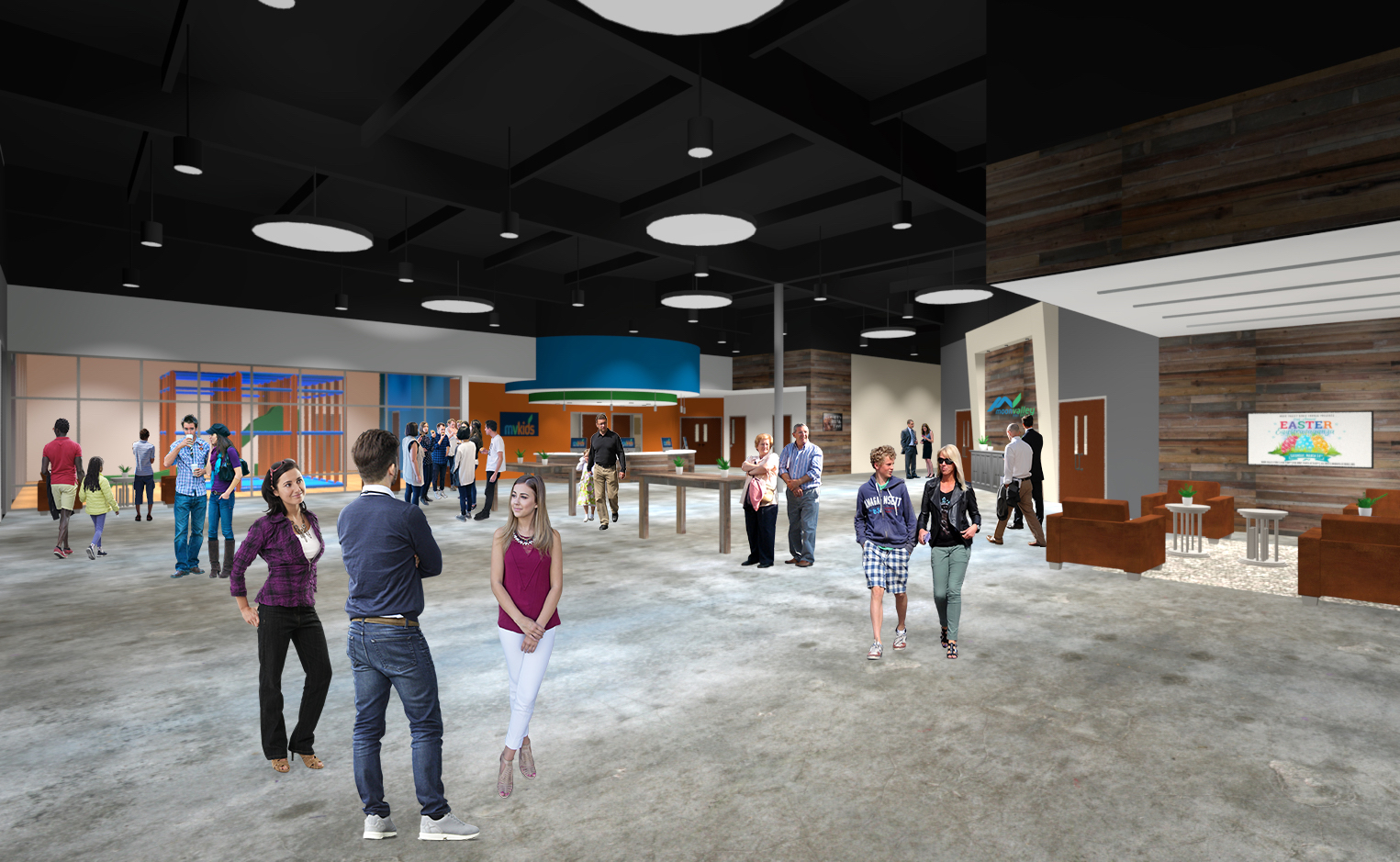 Lobby space rendering of Moon Valley Bible Church